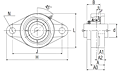 Ultra-Class Two Bolt Flanged Unit, Set Screw, ARFLU Type - Dimensions